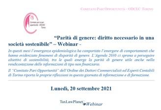 """Read more about the article Taxlawplanet Webinar """"Parità di genere: diritto necessario in una società sostenibile"""""""